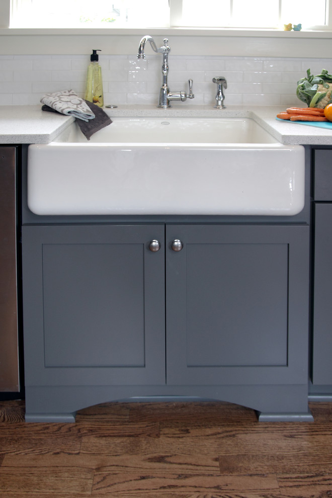 Apron Sink Spaces Transitional with Apron Sink Brushed Satin Nickel Cabinet Cabinetry Cabinets Charcoal Charcoal Gray Dark