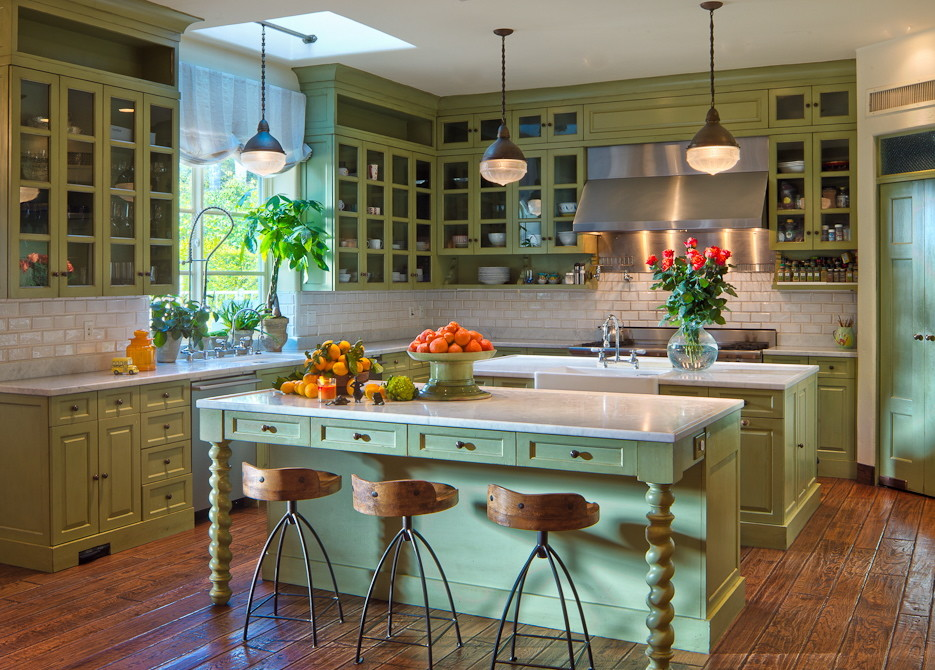 Apron Sinks Kitchen Mediterranean with Green Accents Green Cabinets Green Kitchen Green Wood Cabinet White Shade Wood