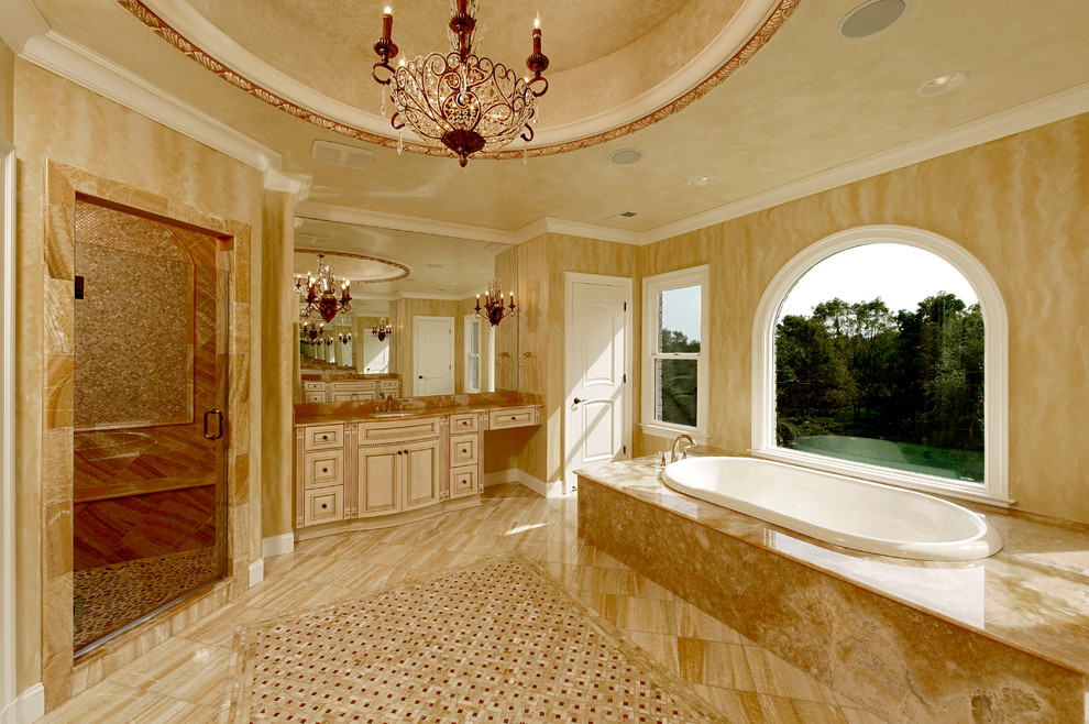 Aquatic Tubs Bathroom Traditional with Bathroom Bertch Birch Wood Bob Narod Photographer Llc Cabinetry Cabinets Chandelier Crown