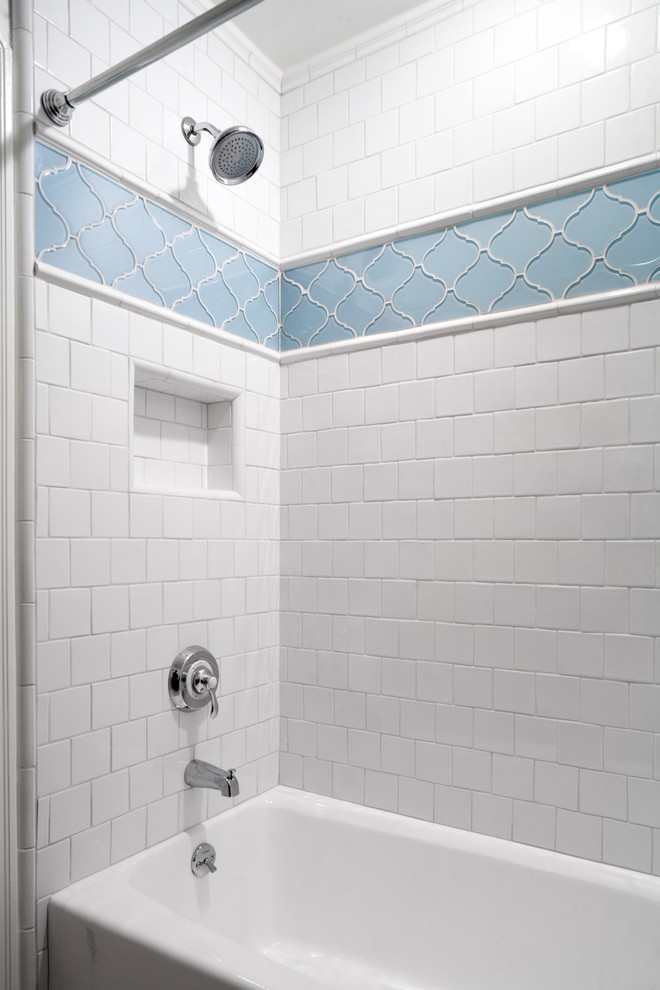 Arabesque Tile Bathroom Contemporary with Ann Sacks Arabesque Blue Subway Tile