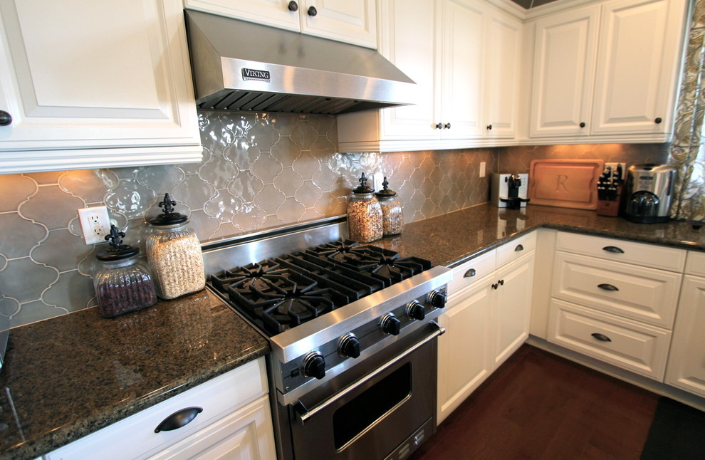 Arabesque Tile Kitchen Traditional with Arabesque Tile Ceramic Granite Countertop Walker Zanger White Cabinets