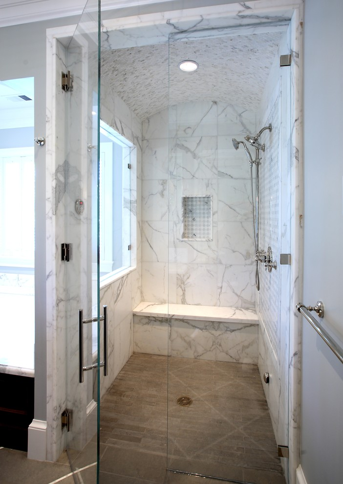 Ariel Steam Shower Bathroom Traditional with Calcuta Oro Marble Carrara Marble Clamping Drain Glass Shower Door Rounded Shower