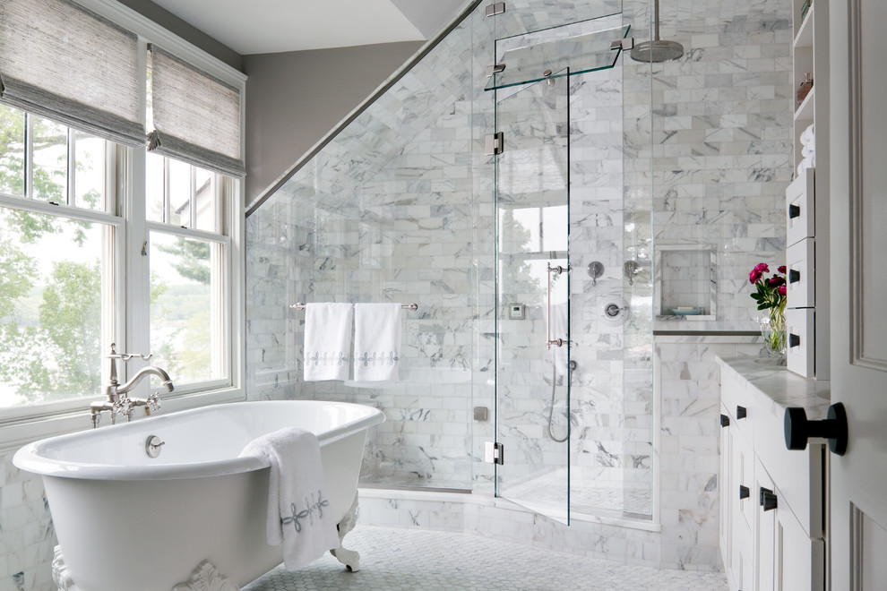 Ariel Steam Shower Bathroom Transitional with Glass Door Glass Wall Natural Light Recessed Shelf Sloped Ceiling
