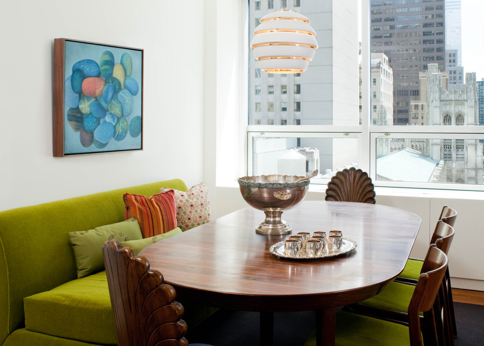 Armless Sofa Dining Room Midcentury with Alvar Aalto Avocado Banquette Bench Bold Green Centerpiece City City View Colorful