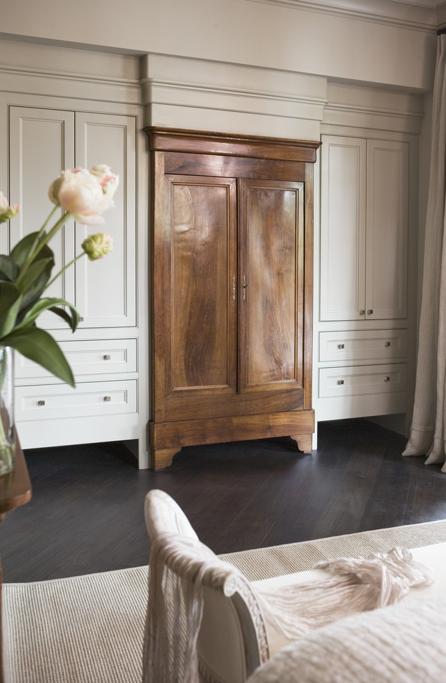 Armoire Closet Bedroom Transitional with Antique Armoire Built in Cabinetry Dark Hardwoods Gray Walls