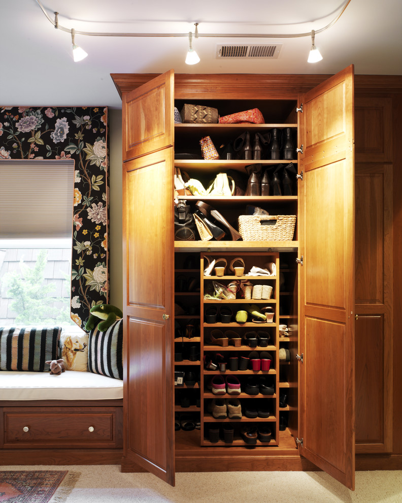 Armoire Closet Closet Traditional with Armoire Beige Carpet Built in Bench Built Ins Ceiling Lighting Decorative Pillows