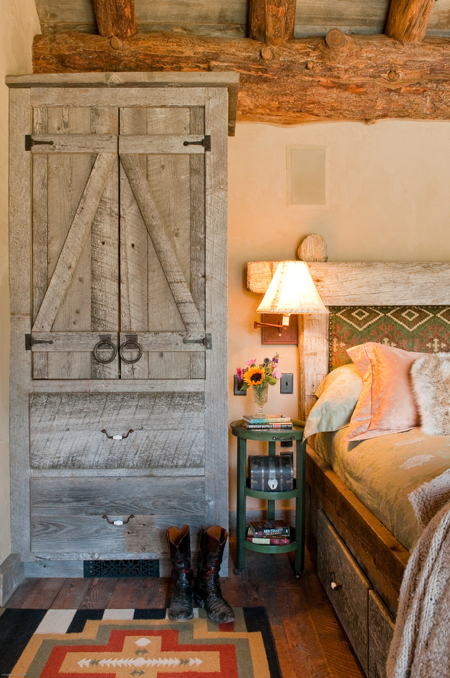 Armoire Wardrobe Bedroom Rustic with Beige Wall Big Sky Montana Architects Boots Cabin Colorful Rug Colorful Upholstered