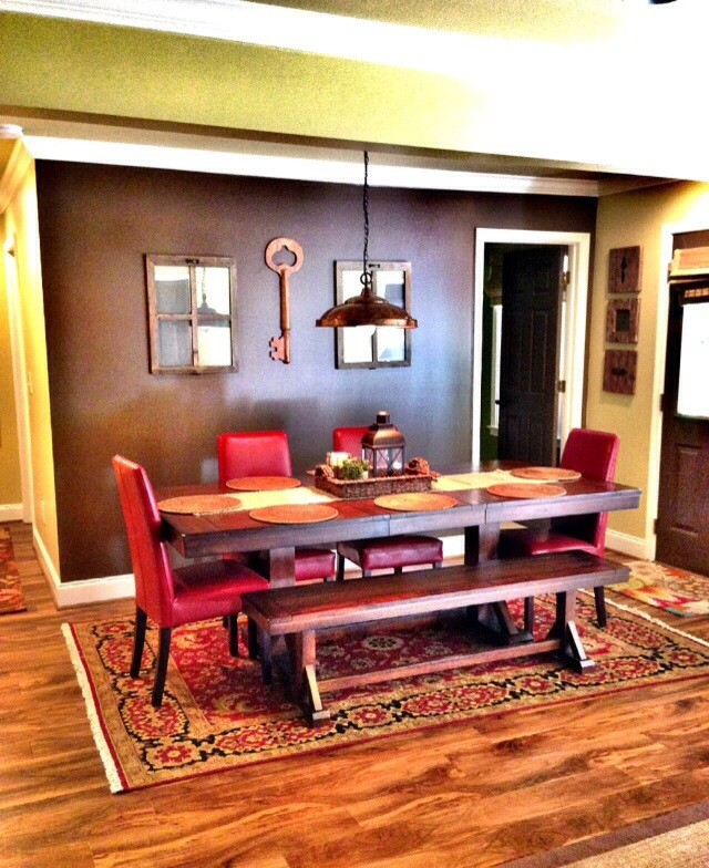 Armstrong Luxe Plank Basement Rustic with Benjamin Moore Wall Color Lvt Flooring in Antiqued Finish Rustic Farm Table