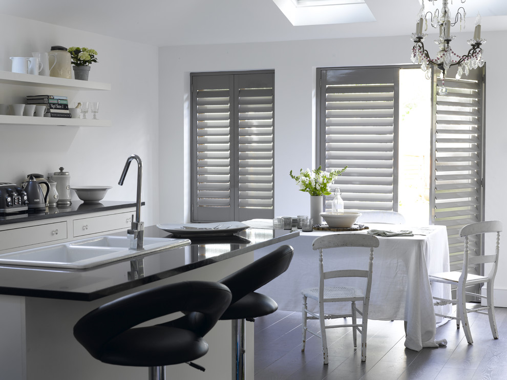 Armstrong Wood Flooring Kitchen Contemporary with Aluminum Shutters Breakfast Room Dining Room Interior Shutters Interior Window Kitchen Kitchen