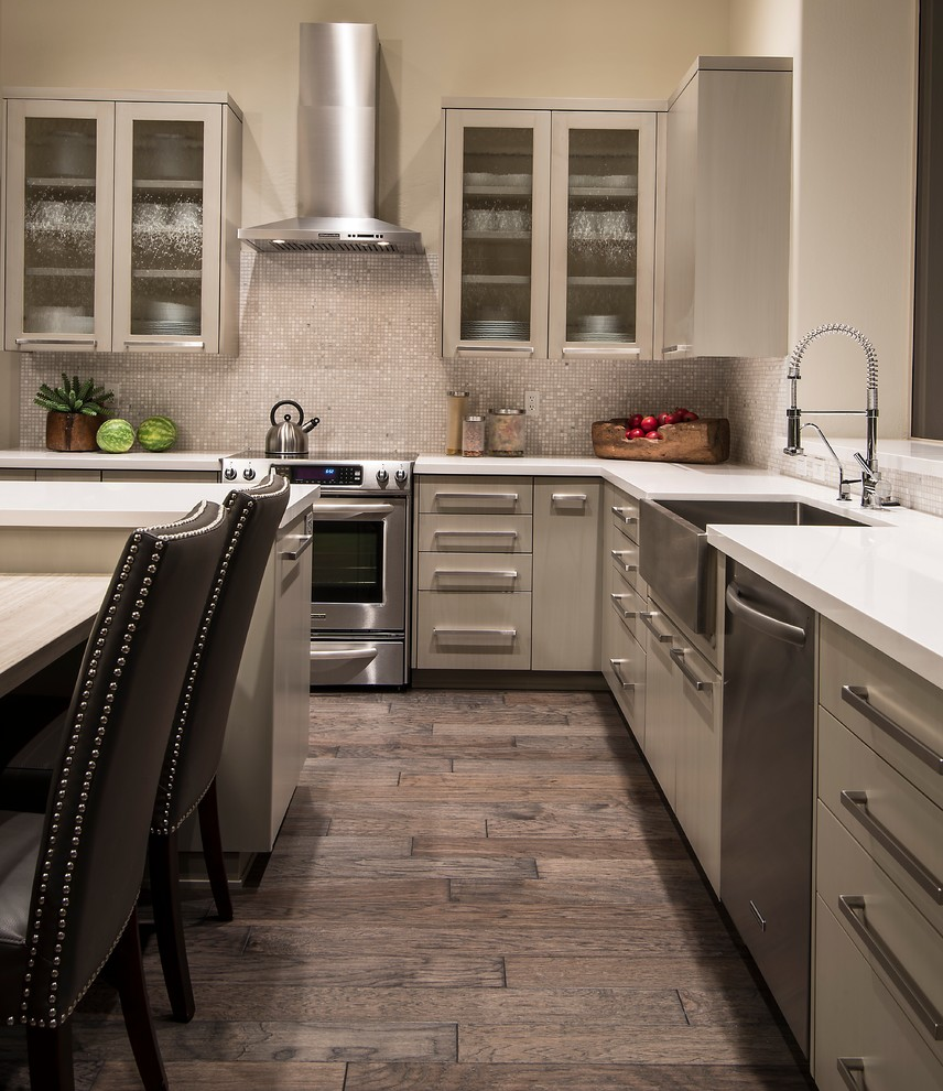 Armstrong Wood Flooring Kitchen Transitional with Apron Sink Dishwasher Flat Barrel Pull Frosted Glass Cabinets Kitchen Faucet Kitchen