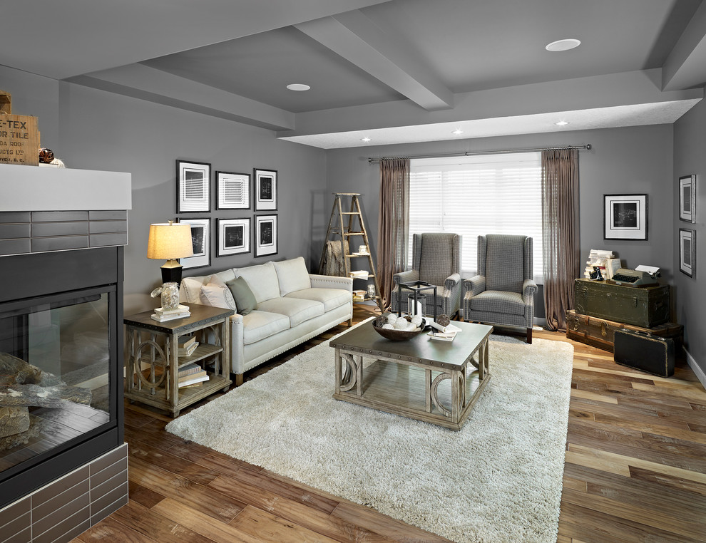 Armstrong Wood Flooring Living Room Eclectic with Corner Fireplace Decorative Ladder Decorative Trunks Gray Ceiling Gray Walls Gray Wing1