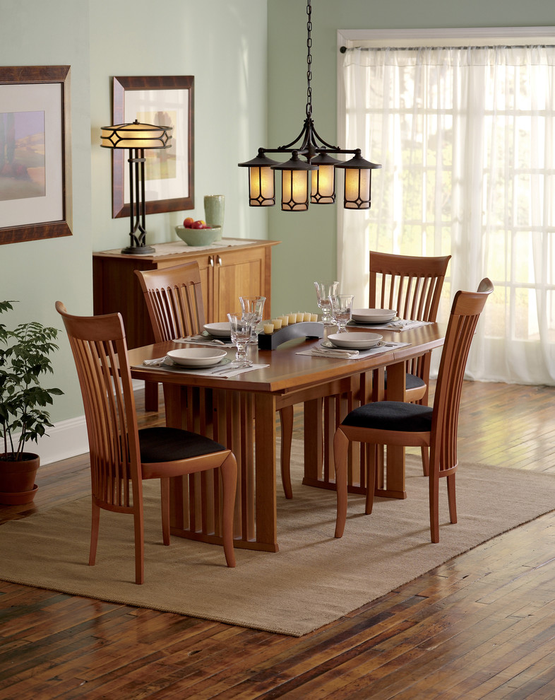 Arroyo Craftsman Dining Room Traditional With Area Rug Buffet Chandelier Table High Back Chairs Light Fixture