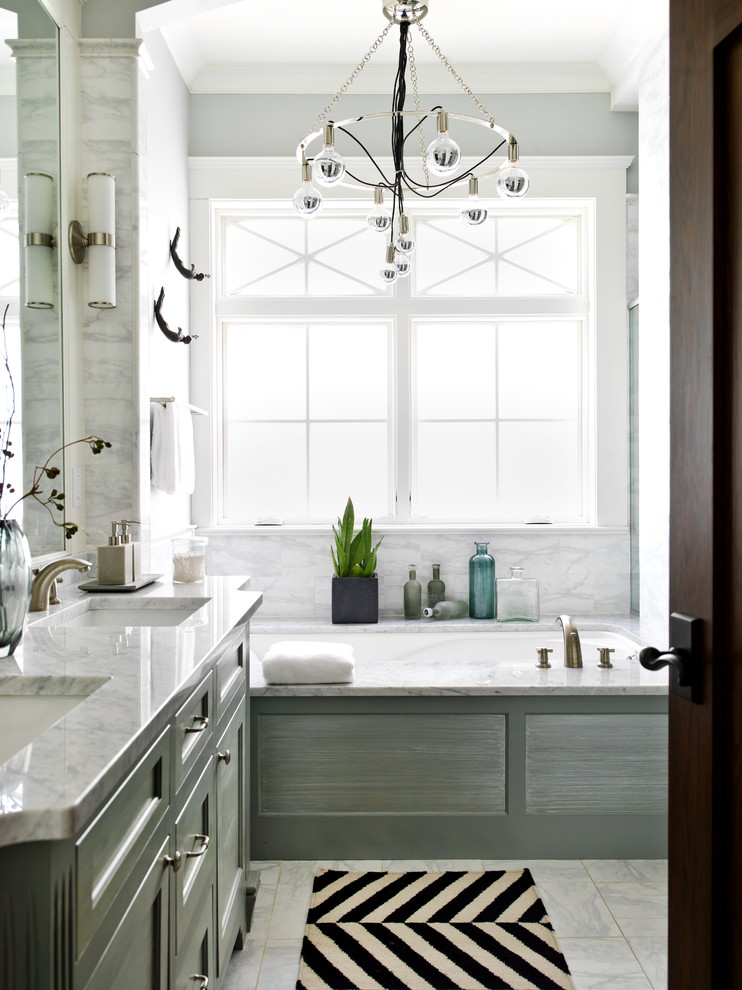 Arteriors Lighting Bathroom Transitional with Black and White Bath Mat Chandelier Herringbone Bath Mat Wall Sconce White