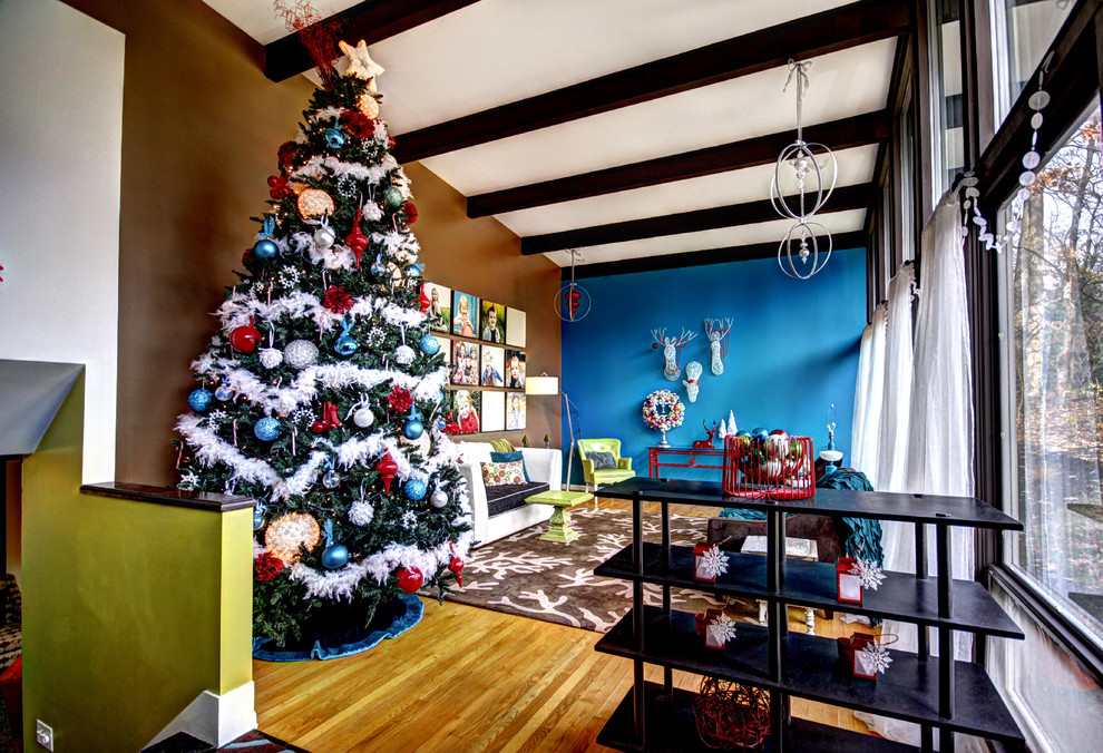 artificial christmas trees for sale Living Room Midcentury with area rug beams wood floor blue brown Christmas colorful interiors dark stained