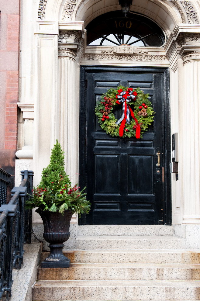 artificial christmas wreaths entry traditional with back bay black front door boston christmas column decor decorations front door