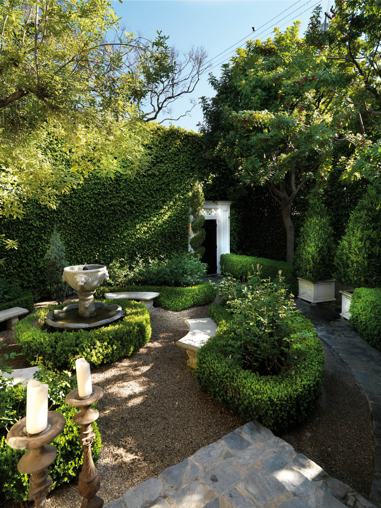 artificial topiary Landscape Traditional with Beverly Hills California candle holder candlestick courtyard curved bench gravel hedges high