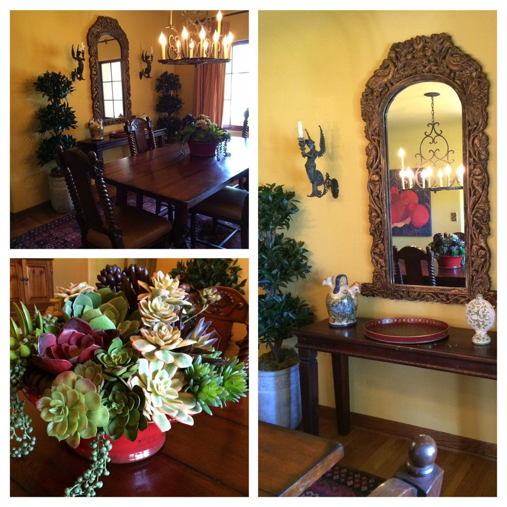artificial topiary trees Dining Room Mediterranean with faux succulents hacienda Spanish Colonial Spanish style