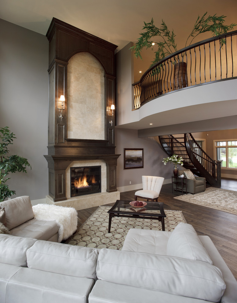Ashley Furniture Leather Sectional Living Room Traditional with Area Rug Ceiling Curve Staircase Curved Lines Curved Railing Family Finish Fireplace