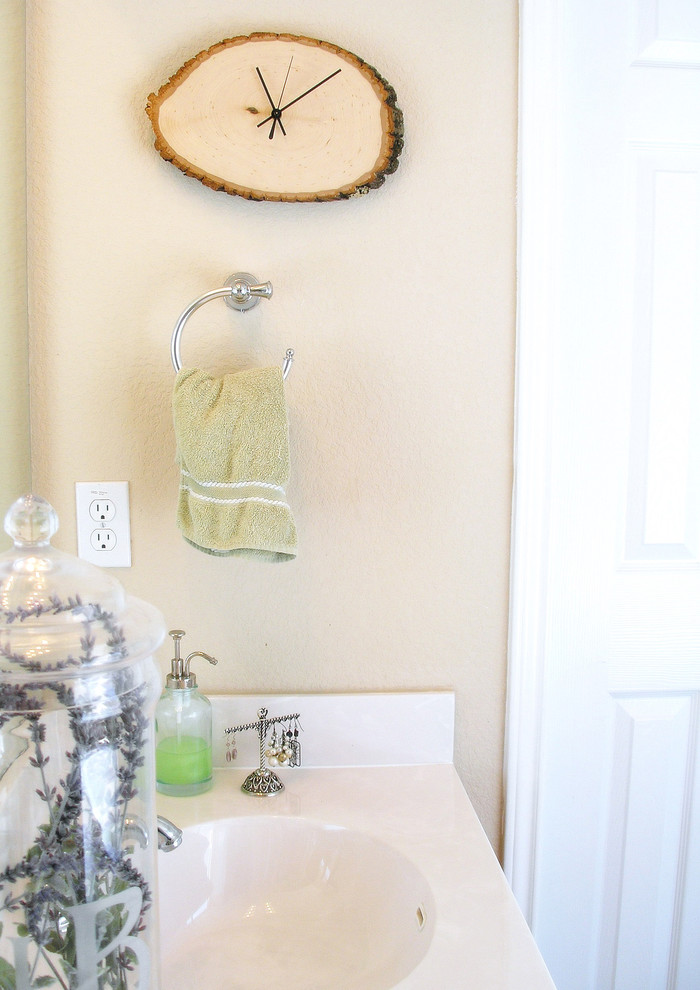 atomic wall clock Bathroom Eclectic with Art clock driftwood environment glass jar green jewelry display lavender reuse towel