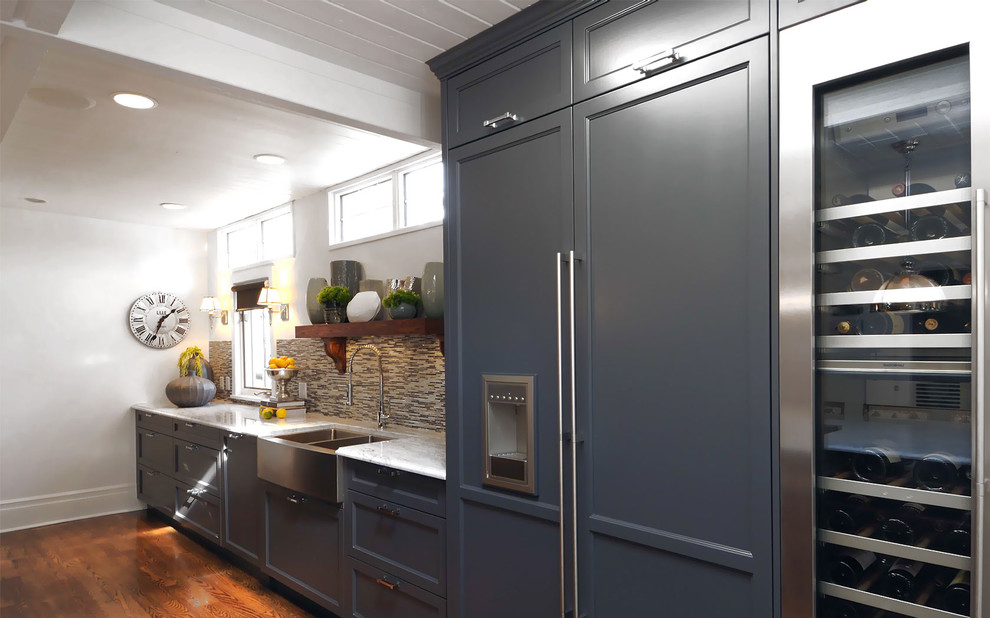 Avanti Water Dispenser Kitchen Transitional with Apron Sink Blue Cabinets Cabinet Front Refrigerator Ceiling Lighting Clerestory Farmhouse Sink