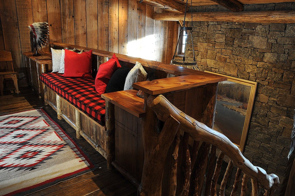 Aztec Rug Hall Rustic with Area Rug Branch Banister Buffalo Plaid Built in Bench Cabin Decorative Pillows Landing