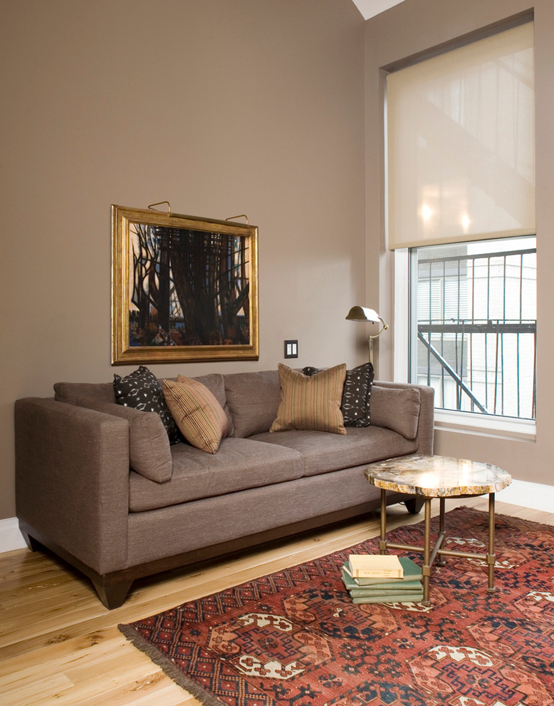 Aztec Rug Living Room Eclectic with Art Lighting Couch Fire Escape Floor Lamp Gray Sofa Greige Ivory Window