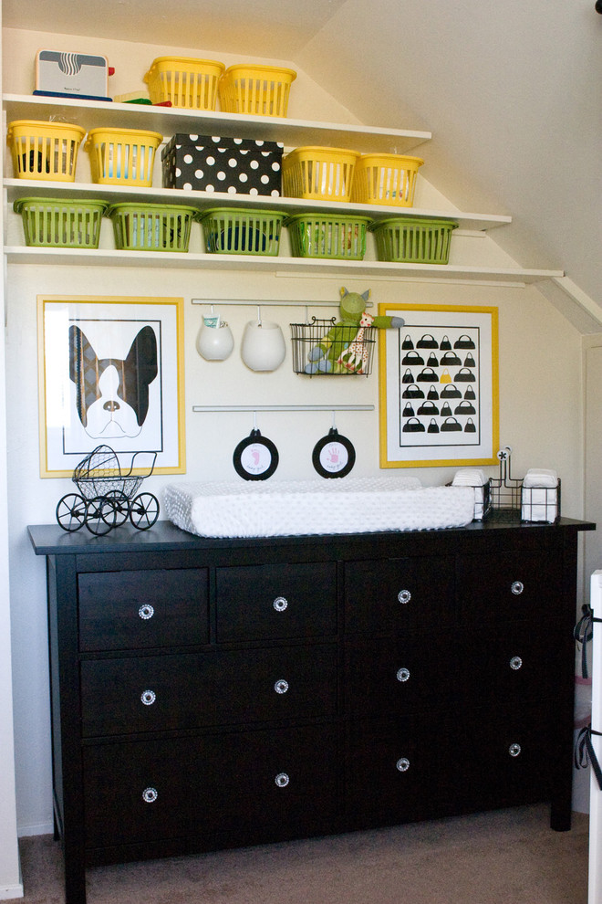 Baby Changing Table Dresser Nursery Contemporary with Black and White Black Dresser Changing Table Green Metal Baskets Plastic Baskets