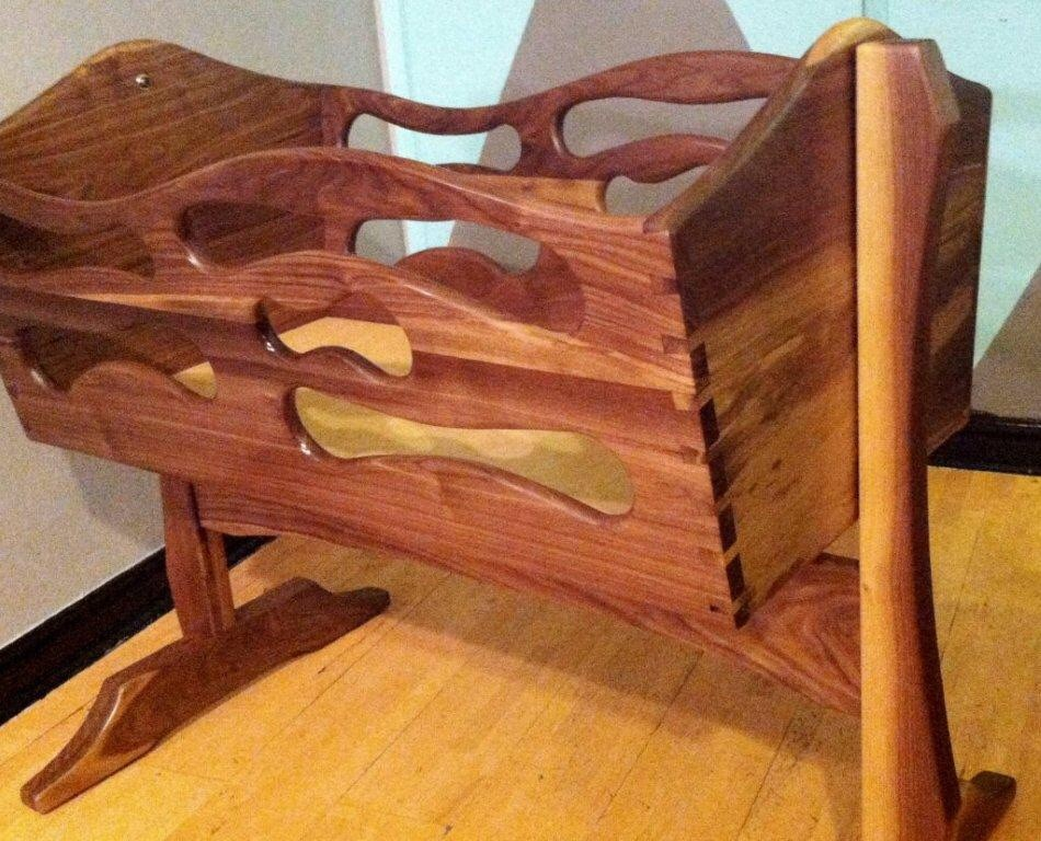 Baby Cradles Spaces Eclectic with Baby Bedding Baby Cradle Custom Made Rocking Cradle Solid Mehogany Solid Walnut