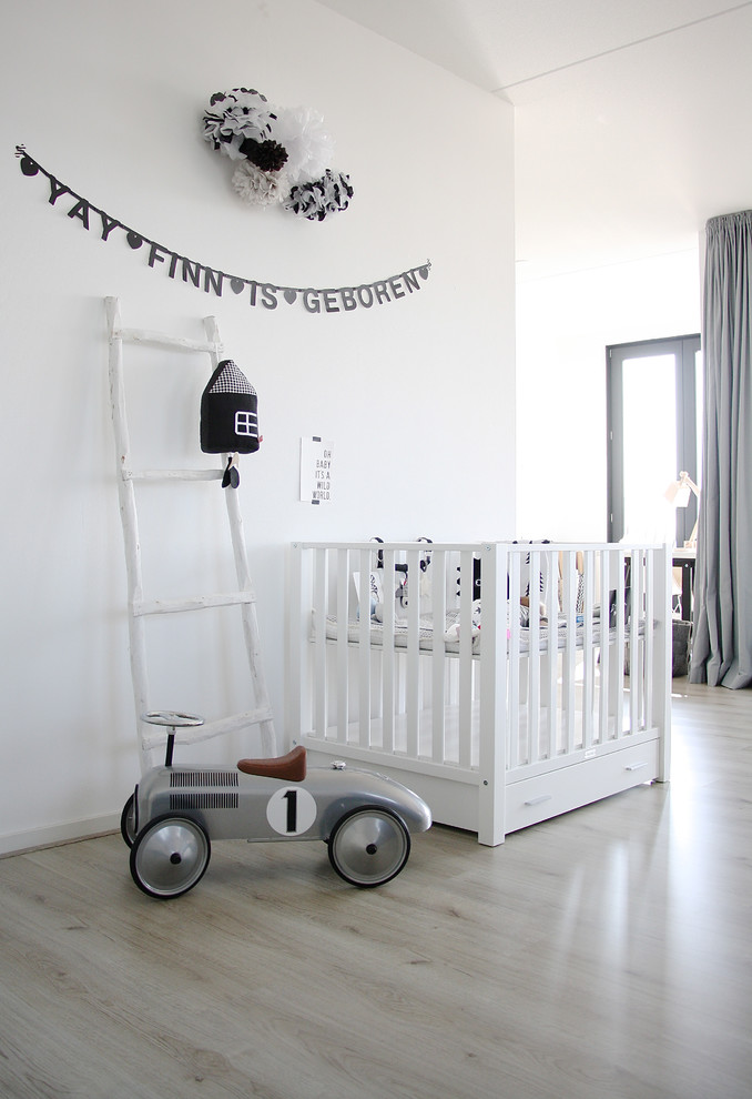 baby playpens Nursery Scandinavian with banner black and white boys room crib gray and white ladder light