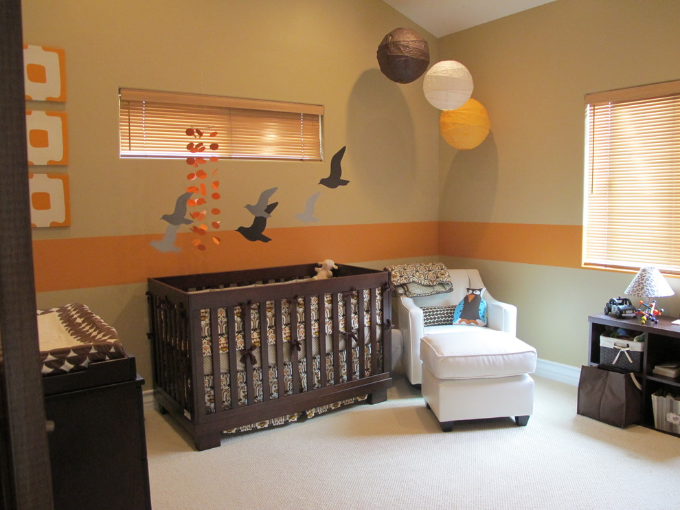 Babyletto Nursery Contemporary with Armchair Beige Carpet Beige Wall Bookcase Changing Table Crib Cubbies Ideas For