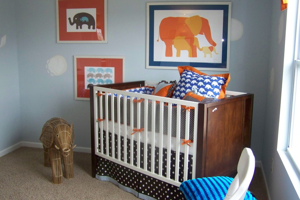 Babyletto Nursery Contemporary with Blue Elephants Modern Nursery Neutral Orange Polka Dots