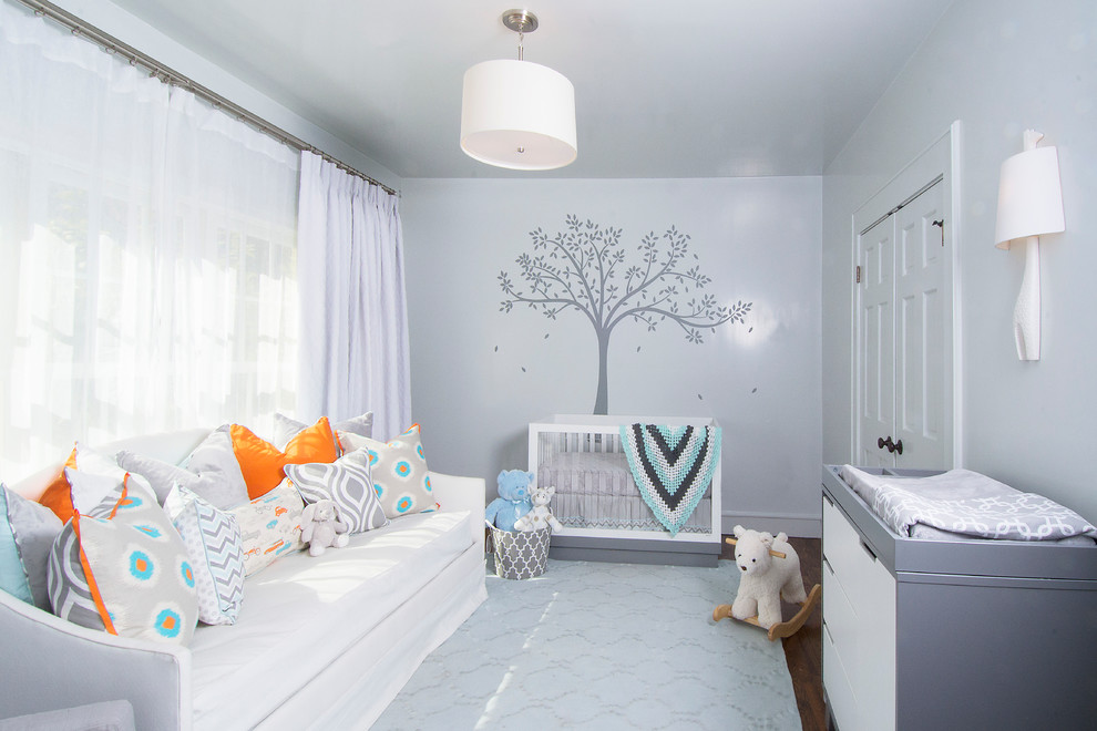 Babyletto Nursery Transitional with Blue Accents Changing Table Giraffe Wall Sconce Gray Changing Table Gray Crib