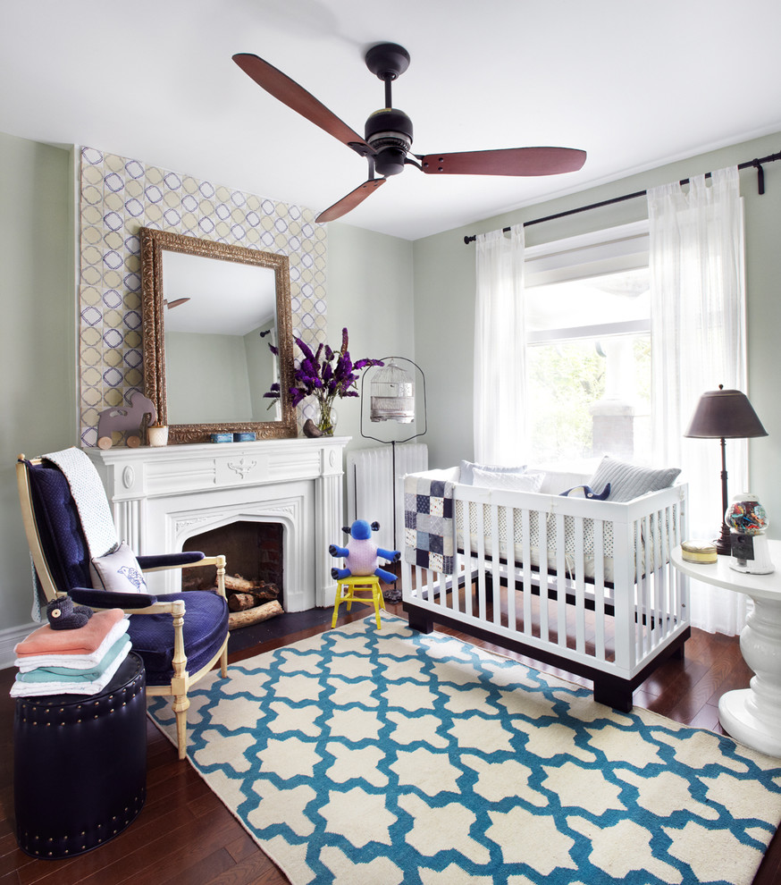 Babyletto Mercer Nursery Contemporary with Area Rug Baby Room Blue Ceiling Fan Crib Fire Place Fireplace Fireplace