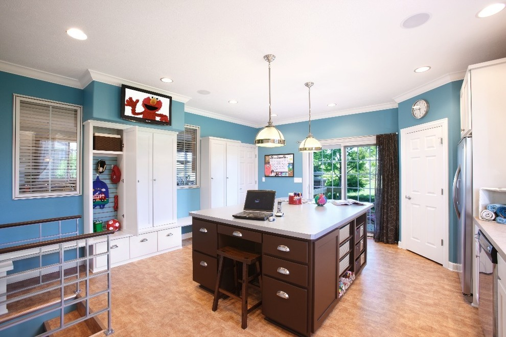 Backless Counter Stools Laundry Room Modern with Blue Walls Built in Cabinets Built in Storage Ceiling Lighting Entrance Entry