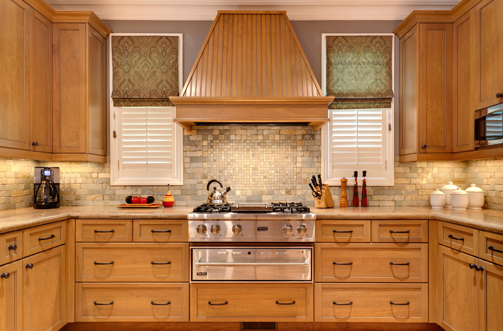 Backsplash for Kitchens Kitchen Traditional with Beige Countertop Brown Roman Shade Built in Cabinetry Cherry Cooktop Custom Glass