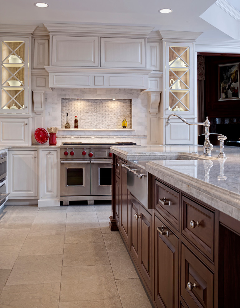 backsplash tile designs Kitchen Traditional with butlers pantry Furniture style Island glass cabinetry grey glazing old word traditional