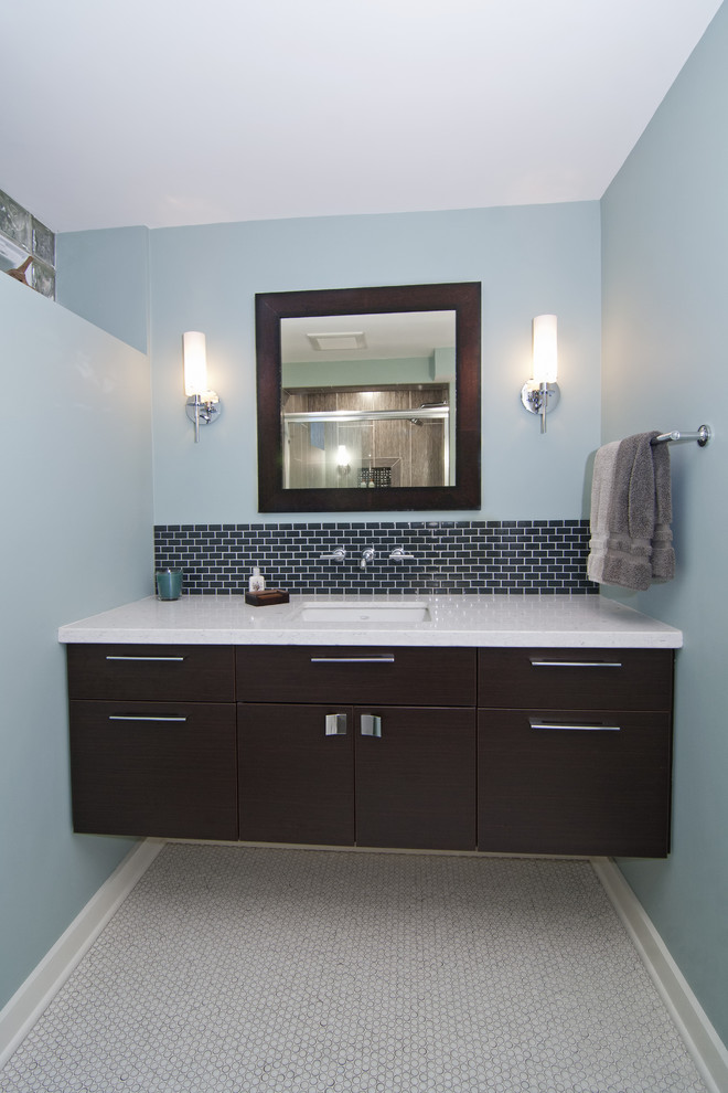 Backsplash Tiles Bathroom Contemporary with Baseboards Bathroom Lighting Bathroom Tile Blue Walls Floating Vanity Floor Tile Neutral