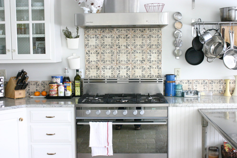 Backsplash Tiles Kitchen Eclectic with Beadboard Decorative Tile Glass Front Cabinets Kitchen Storage Pot Rack Stainless Steel