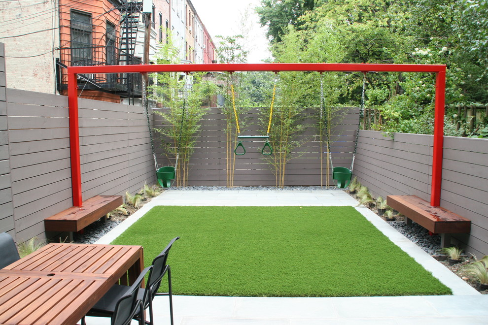 Backyard Playground Equipment Kids Contemporary with Bench Built in Benches Fence Garden Grass Gravel Gray Fence Ornamental Grasses Outdoor