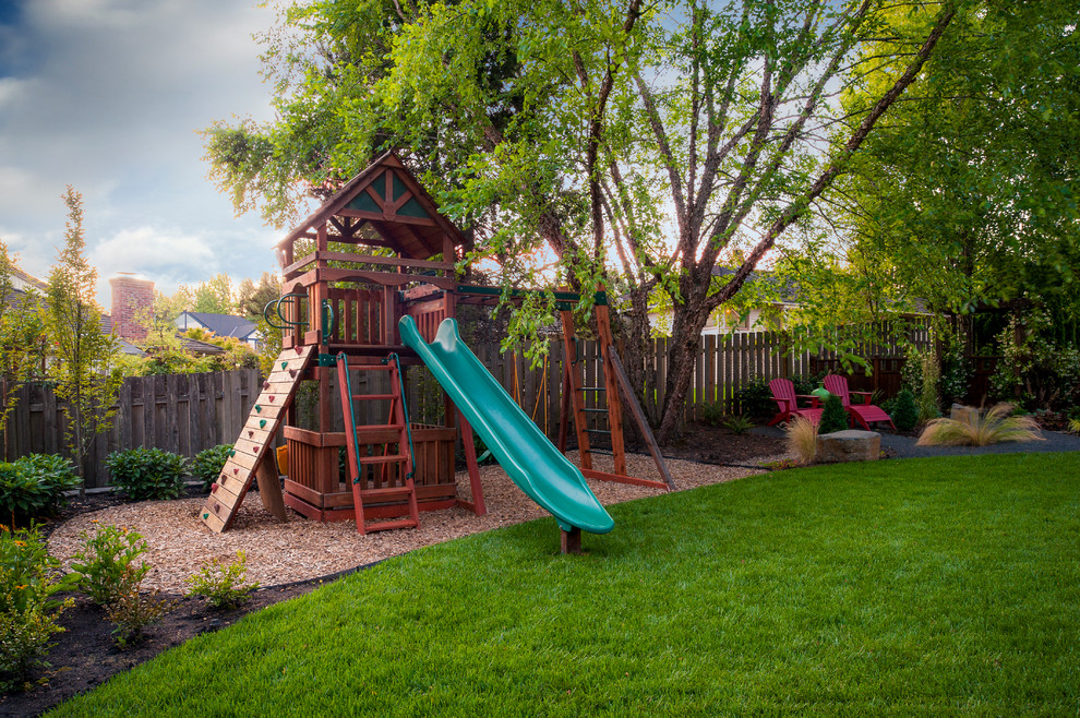 Backyard Playground Equipment Kids Traditional with Adirondack Chairs Backyard Garden Grass Landscape Lawn Plants Playground Slide Treehouse Wood