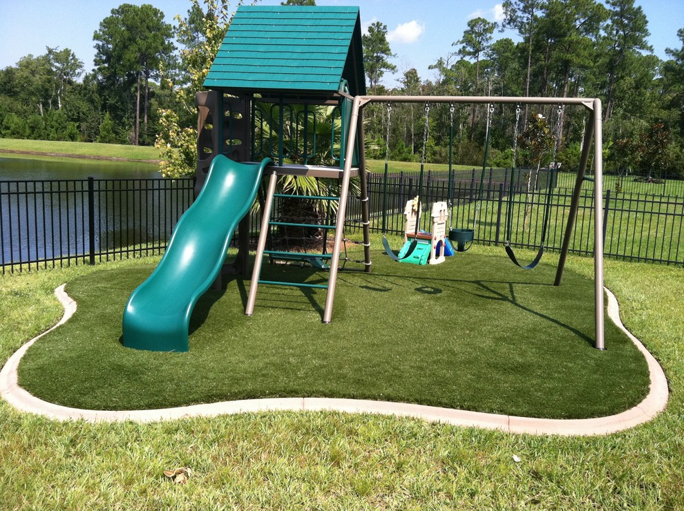 Backyard Playsets Kids Traditional With Artificial Concrete Curb Curbing  Foam Grass Lawn Padding Playset Slide Swing