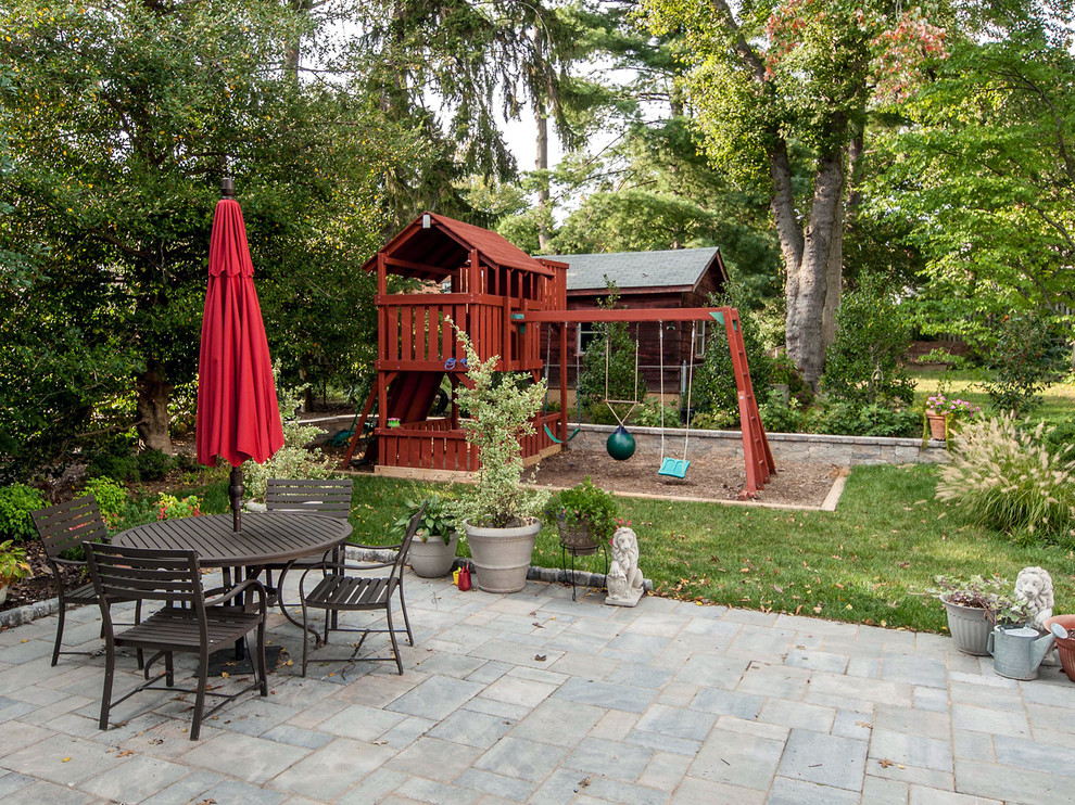 Backyard Playsets Patio Traditional with Back Yard Backyard Landscaping Outdoor Dining Outdoor Furniture Outdoor Playsets Playground Potted