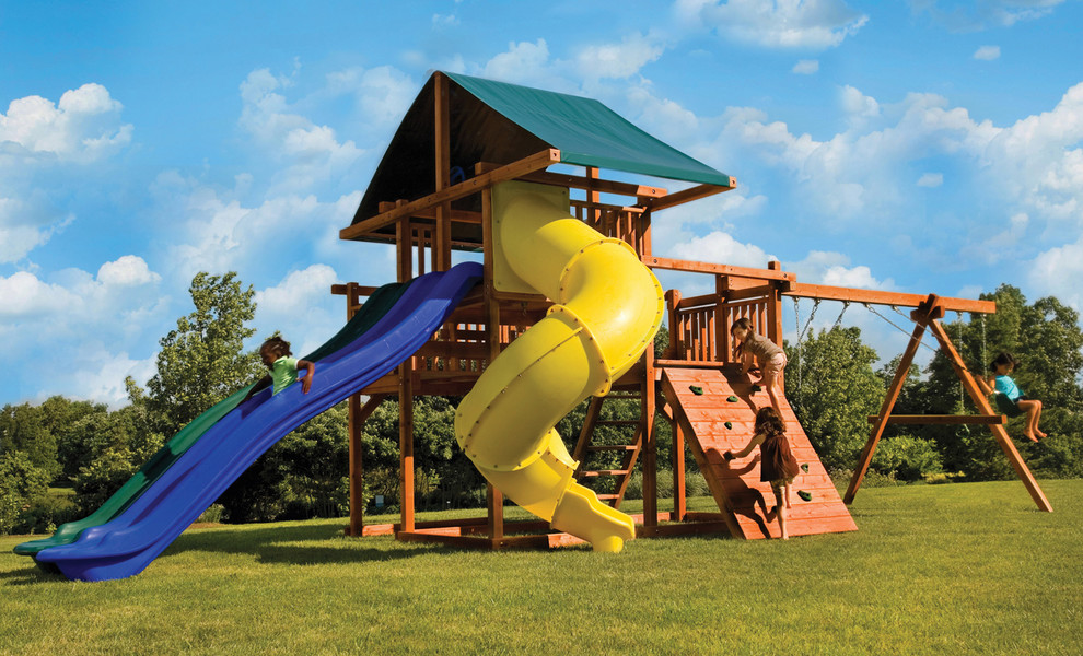 Backyard Swing Sets Kids Traditional with Backyard Backyard Swing Set Big Canopy Child Children Climbing Rock & backyard swing sets Landscape Traditional with backyard lawn play ...