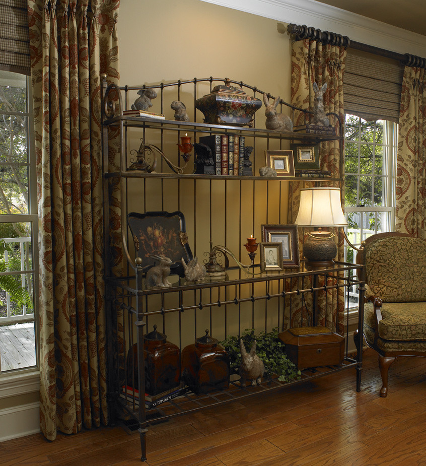 bakers rack Living Room Traditional with accessories bakers rack curtains drapery panels formal living room living room living