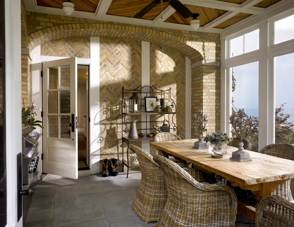 Bakers Rack Porch Transitional with Brick Brick Wall Coffered Ceiling Dining Table French Door Rustic Stone Floor