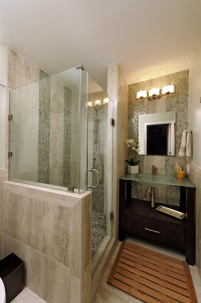 Bamboo Bath Mat Bathroom Asian with Asian Bathroom Brookhaven Contemporary Custom Cabinetry Glass Tile Woodmode Zen