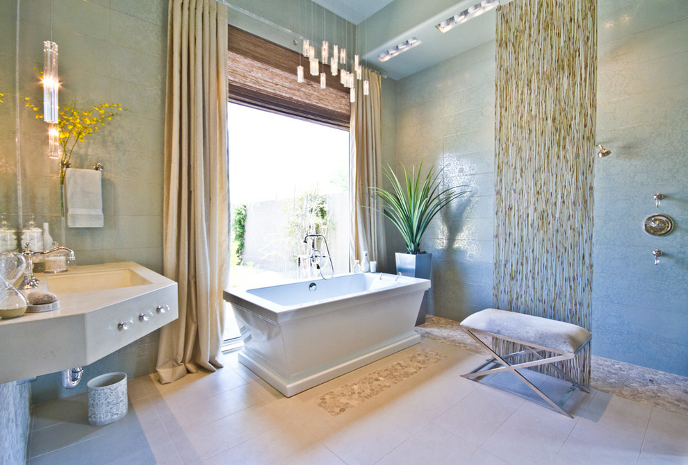 Bamboo Bath Mat Bathroom Contemporary with Art Chandelier Custom Glass Lighting