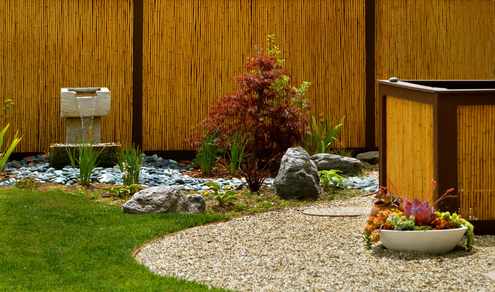 Bamboo Fence Landscape Asian with Bamboo Fencing Boulders Dry River Fountain Garden Fencing Grass Gravel Hot Tub