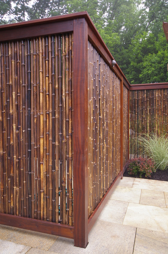 bamboo fence Patio Asian with Asian bamboo Bucks county Doylestown fence granite paving Landscape Architecture landscape contractor