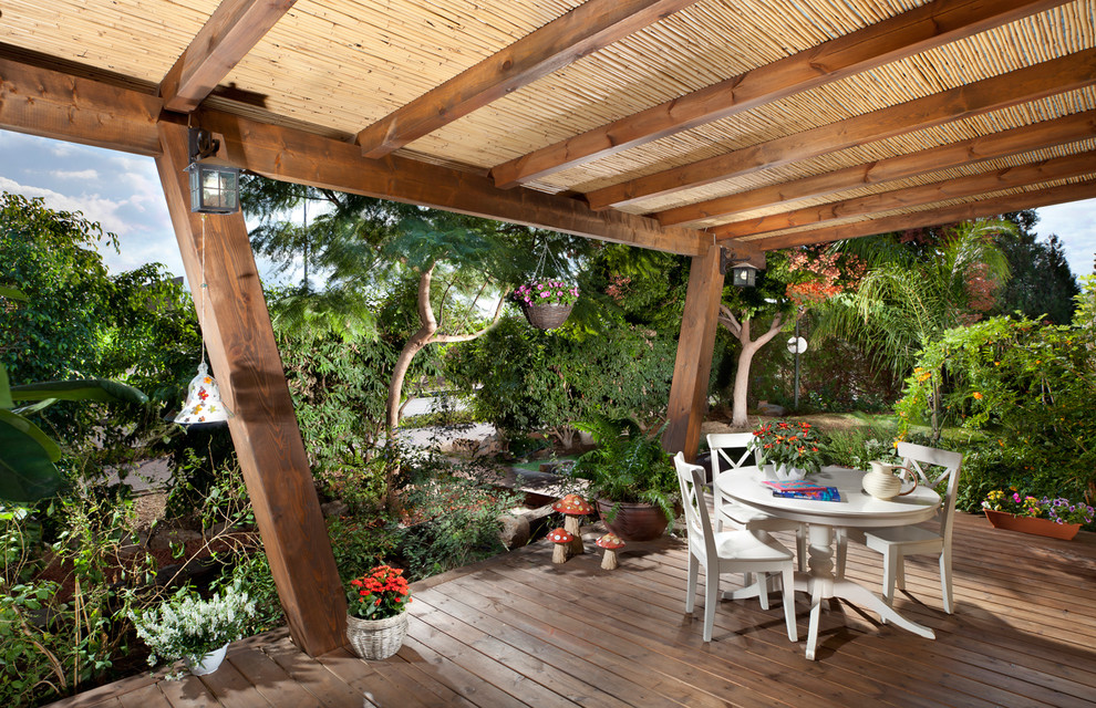 bamboo sheets review Deck Tropical with container plants deck exposed beams hanging basket plants lanterns outdoor dining outdoor
